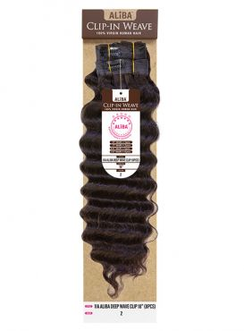 Janet Collection 100% Virgin Human Hair 11A Aliba DEEP WAVE Clip-In Weave 8pc